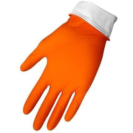 "Global Glove 775PF HD Panther Guard 6 Mil 9.5"" Cuff Orange Nitrile Gloves - Powder Free"
