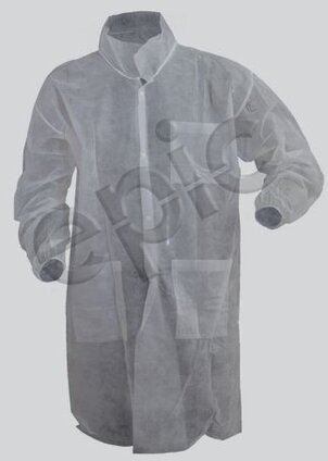 Tian's 843881 Polypropylene White Lab Coats with Elastic Wrists and Pockets