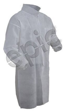 Tian's 845881 Polypropylene Lab Coats with Elastic Wrists and One Pocket