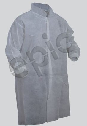 Tian's 845885 Polypropylene Lab Coats with Knit Wrists - No Pockets