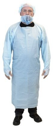 Safety Zone 4 Mil Chemical Resistant Polyethylene Aprons With Thumb Hole Sleeves