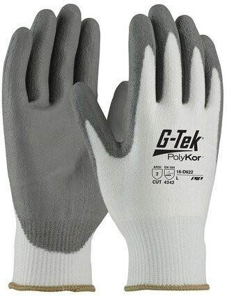 PIP G-Tek 16-D622 Seamless Knit 13 Gauge Polykor Blended Polyurethane Coated Cut Level 3 Gloves With Smooth Grip