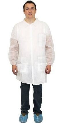 Safety Zone Polypropylene White Lab Coats - with Pockets, Elastic Wrists