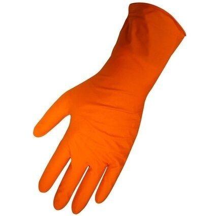 "Global Glove 675PF HD Panther Guard 6 Mil Orange Nitrile 11"" Cuff Gloves - Powder Free"