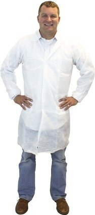 Safety Zone DLBL-SMS 50 Gram SMS Lab Coats - with Pockets, Knit Wrist