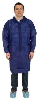Safety Zone DLBL/DLWH 40 Gram Polypropylene Lab Coats - with Pockets, Elastic Wrists