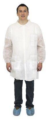Safety Zone DLWH-E-EW Polypropylene White Lab Coats - with Pockets, Elastic Wrists