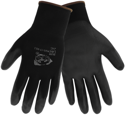 "Global Glove ""Atlas 370 Style"" PUG-17 Black Polyurethane Dip Gloves"