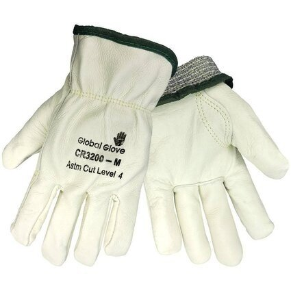 Global Glove CR3200 Premium Cow Grain Gloves - Aralene Cut Resistant Liner