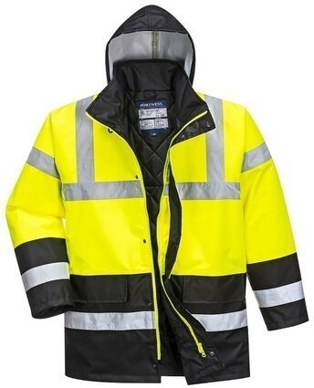 Portwest US466 Hi Vis Contrast Traffic Waterproof Rain Jacket with Pack Away Hood