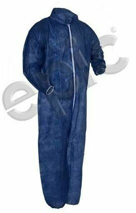 Tian's 210681 Polypropylene Navy Blue Coveralls with Elastic Wrists & Ankles