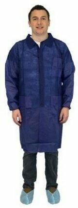 Safety Zone 40 Gram Polypropylene Lab Coats - with Pockets, Elastic Wrists