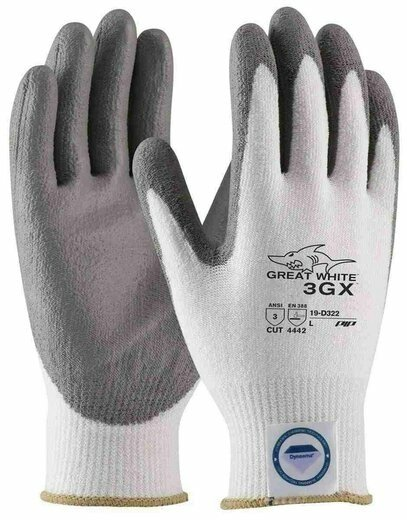 PIP G-Tek 3GX 19-D322 Great White Dyneema Diamond PU Coated Cut Level 3 Gloves