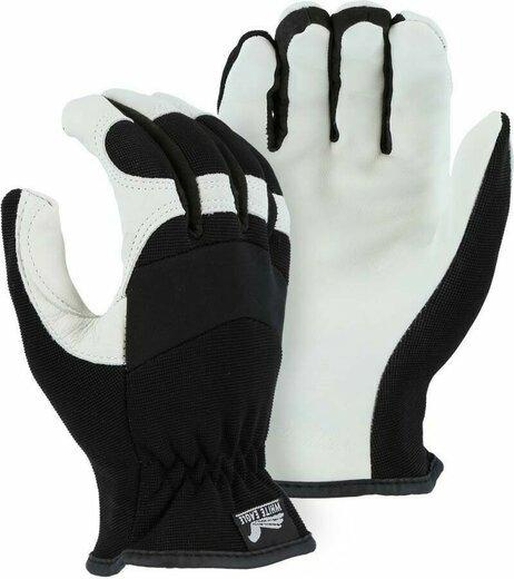 Majestic 2153D Premium White Grain Goatskin Palm Slip On Work Gloves