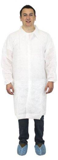 Safety Zone Polypropylene Lab Coats - No Pockets, Elastic Wrists