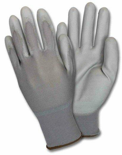 Safety Zone GNPU-4-GY-GY Polyurethane Coated Nylon Knit Gloves