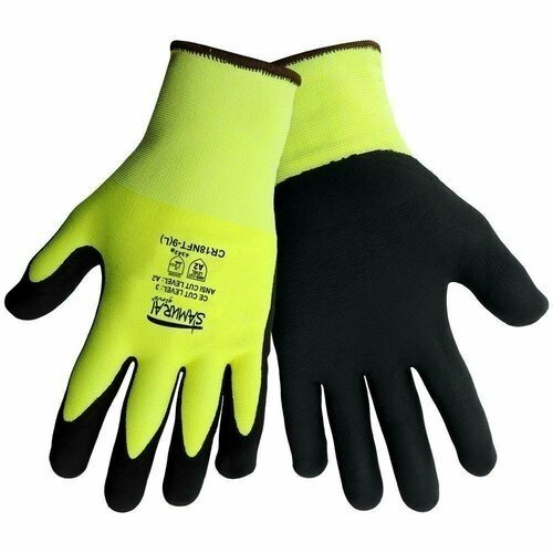 Global Glove Samurai CR18NFT Hi Vis Cut Resistant Nitrile Foam Dipped Gloves