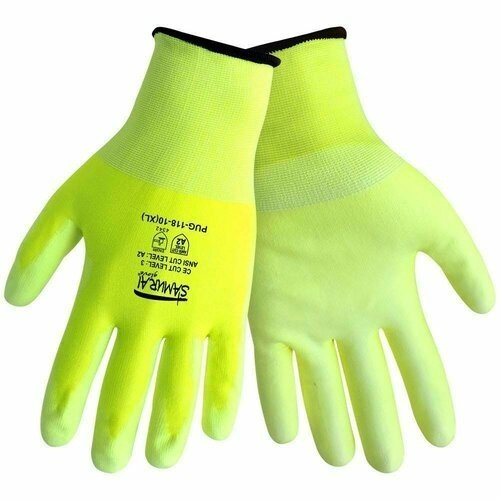 Global Glove Samurai PUG-118 -PU on HDPE- Hi Vis Ansi  Level 2 Cut Resistance